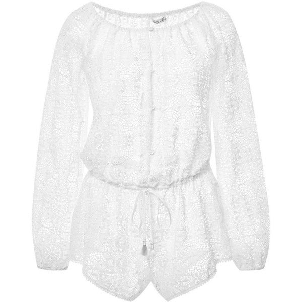 Clothing Vintage Lace Romper (540 BRL) ❤ liked on Polyvore featuring jumpsuits, rompers, white romper, white long sleeve romper, long-sleeve rompers, playsuit romper and white rompers