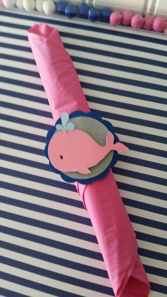 12 Pink Whale Party Napkin Rings Whale Party by PaperedAffair
