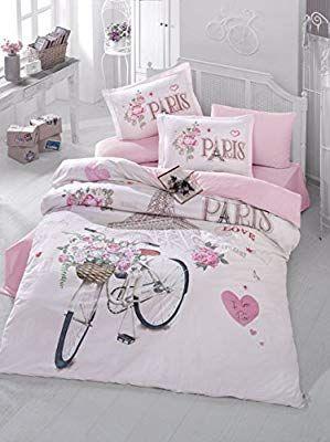 0313e09bb65301 Amazon.com: Bekata Paris Love,%100 Cotton Double-Full/Queen Size Quilt/Duvet  Cover Set, Eiffel Tower Themed Paris Bedding Linens Reversible, Comforter  ...