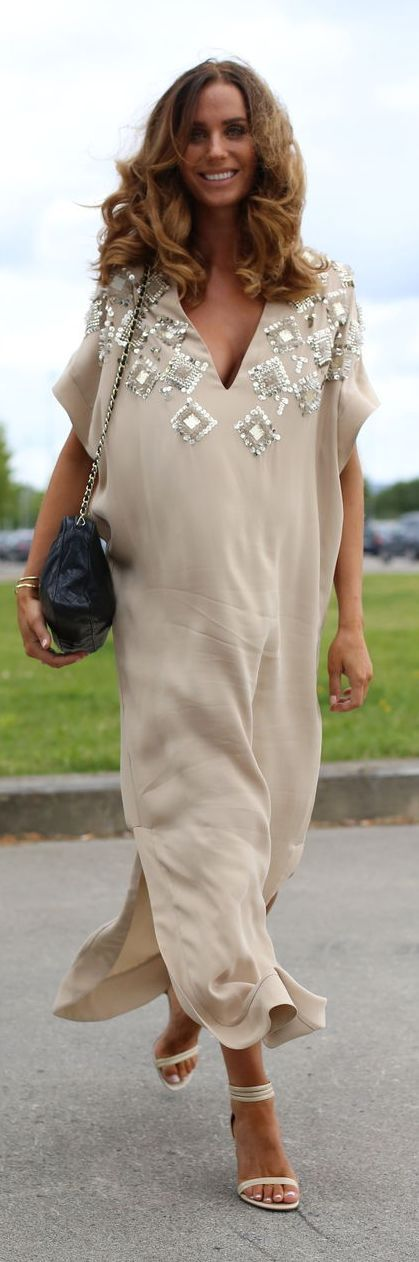 By Beneditcthe Beige Embellished Kaftan by Stylista