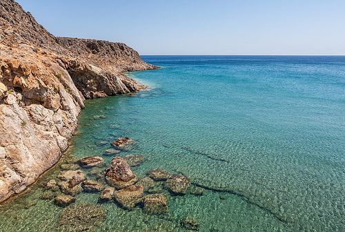 Clear azure waters in Kato Zakros, Crete, Greece