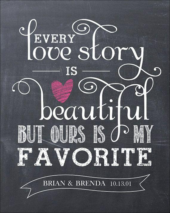 every love story is beautiful 16x20 chalkboard modern
