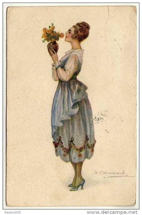 DONNA CON VASO DI FIORI (FLOWERS) GIALLI - 1918 / ILLUSTRATORE BOMPARD