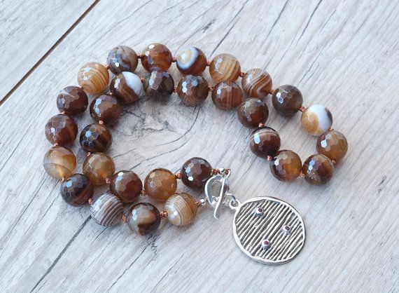 Botswana Agate Natural Brown Stone Necklace by SunSanJewelry
