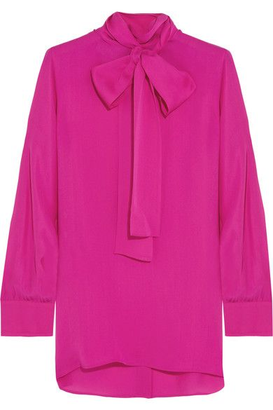 Gucci - Pussy-bow Silk Crepe De Chine Shirt - Fuchsia - IT44