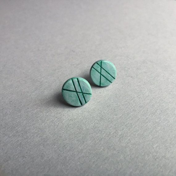 Mint Green ~ handcrafted in polymer clay, these pretties are hand painted, etched, and distressed creating a cool modern design. Sealed in matte varnish, with sterling silver backs.Perfectly light weight, for easy to wear everyday style. ($20) #postearrings #studearrings #modernearrings