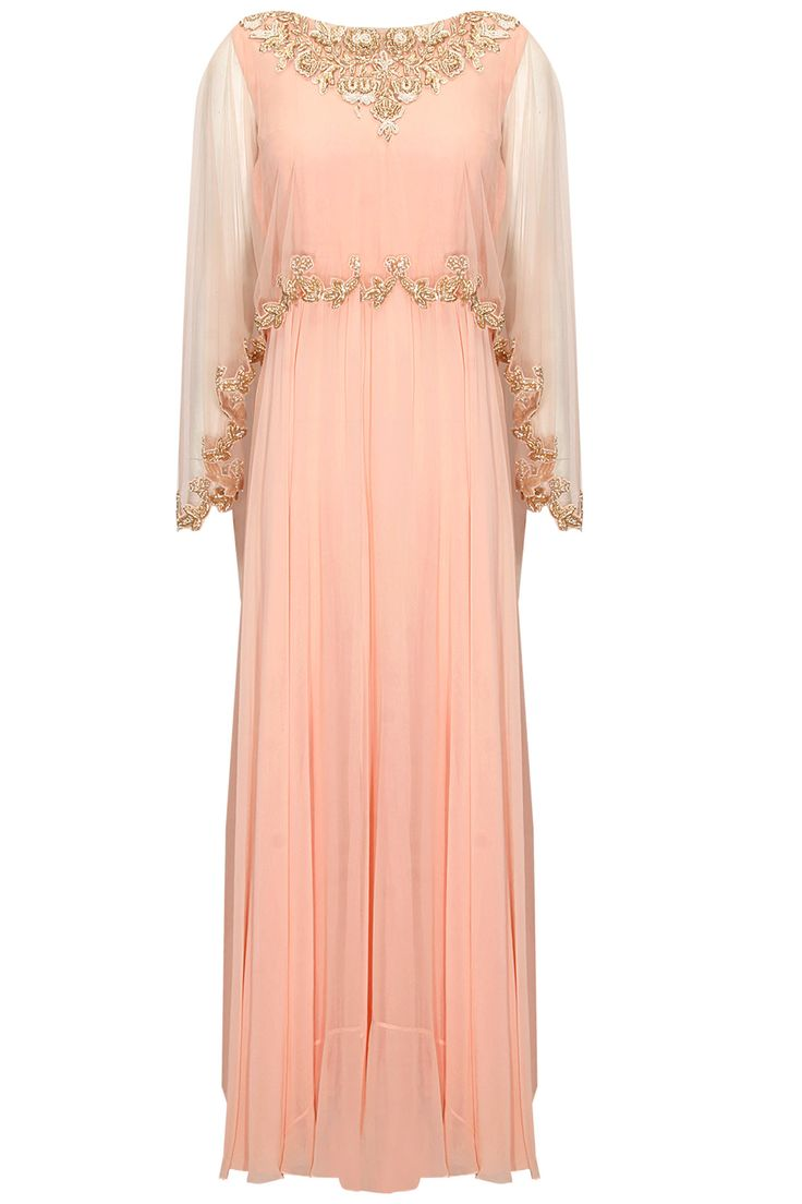 Powder pink embroidered cape anarkali set available only at Pernia's Pop-Up Shop. #traditional #designer #fashion #couture #shopnow #perniaspopupshop #happyshopping #festive #chhaviaggarwal