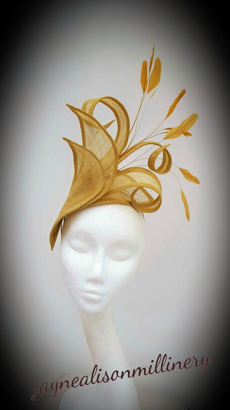 #GoldFascinator, Wedding #Fascinator, Mother of the Bride hat, #RoyalAscot Fascinator, Occasion Hatinator, Ladies Day Headpiece, Gold Hat by JayneAlisonMillinery on Etsy