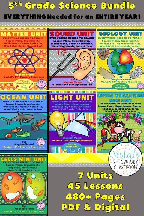 5th Grade Science Bundle- ENTIRE YEAR | Everything Science Grades 3-7