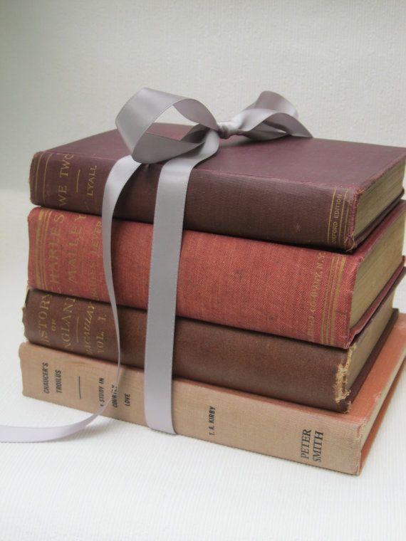 Set of 4 Vintage Hardcover Books in Shades of Red -- vintage home decor, wedding & shower decor