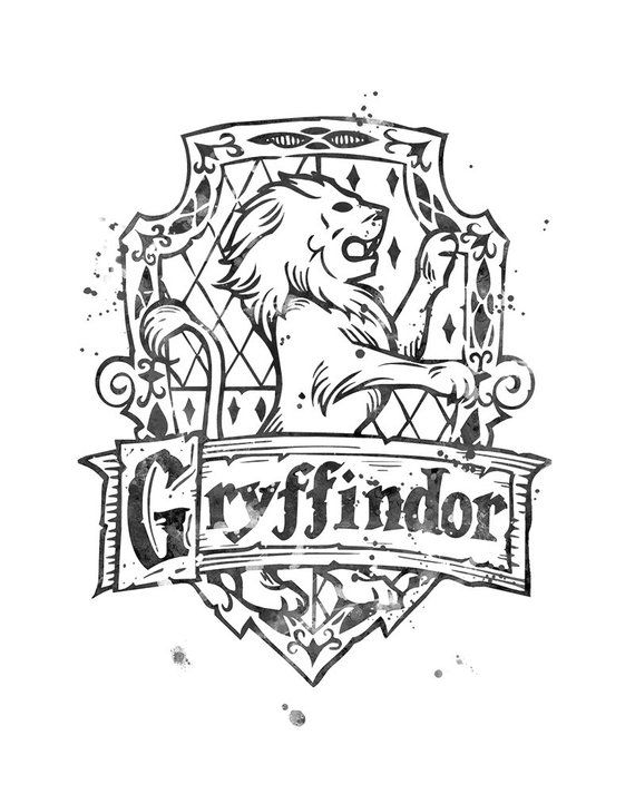 Gryffindor Crest Black And White Harry Potter Watercolor Printable Gryffindor Crest Wall Harry Potter Coloring Pages Harry Potter Tattoos Harry Potter Drawings