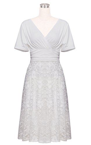 cheap price Betty Rose Women's Floral Lace V Neck Vintage Swing Bridesmaid Dress(Size 2-18)