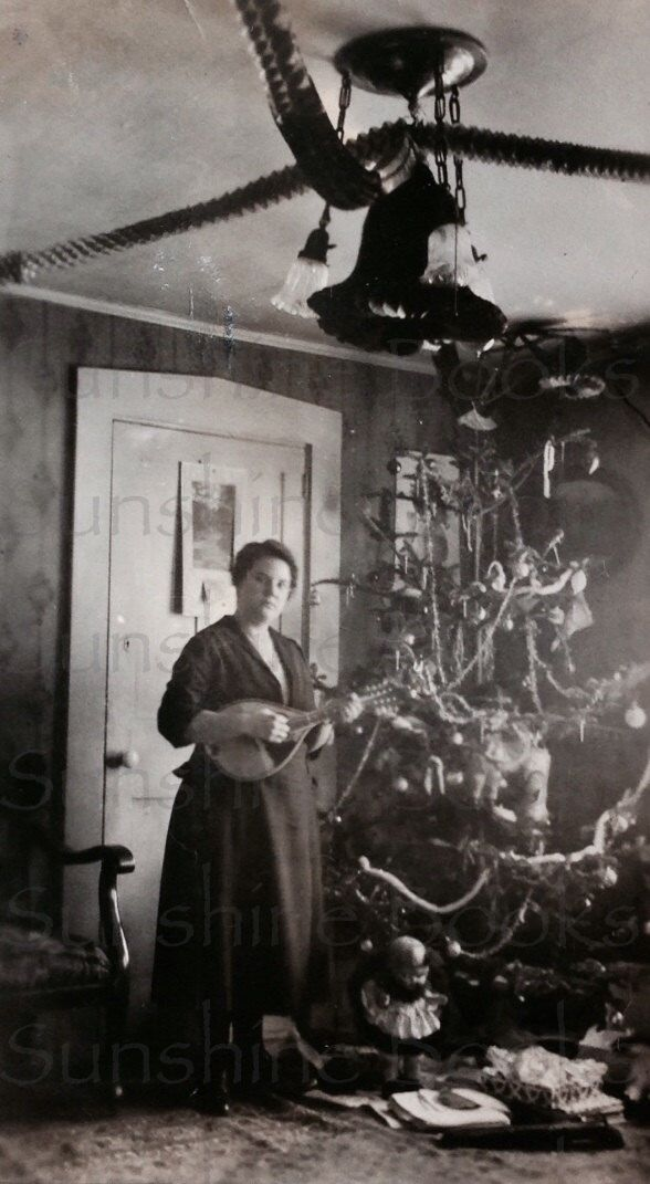A Mandolin for Christmas - Vintage Photo - Christmas Tree - Musical Instrument - Interior - Victorian Home - Holidays - Paper Ephemera by SunshineBooks on Etsy https://www.etsy.com/listing/196637560/a-mandolin-for-christmas-vintage-photo