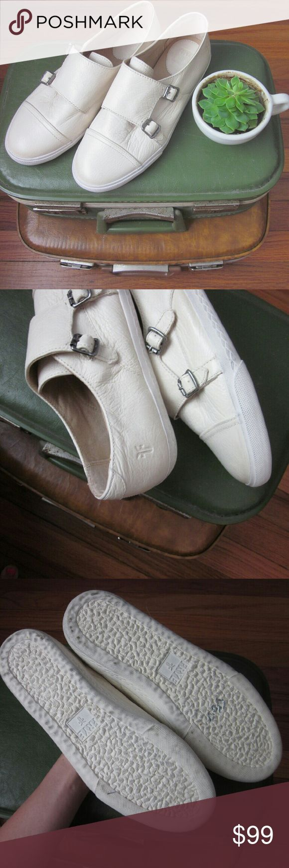Frye Mindy Monk Strap Sneaker NWOB New without box! Uppers flawless. Perfect super soft antiques leather. Cushioned footbeds. Sold out online - website claims true to size. Round toe cap. Double monk strap buckle closure. Rubber soles look to be worn but are made that way - see stock photo. Color is Off white per nordstrom website. Almost cream. Bundle for best deals! Hundreds of items available for discounted bundles! You can get lots of items for a low price and one shipping fee! Follow on…