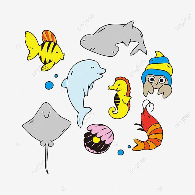 การ ต นช ดส ตว ทะเลน าร ก ลวดลายตกแต ง การ ต น วาดด วยม อภาพ Png และ เวกเตอร สำหร บการดาวน โหลดฟร ในป 2021 การ ต น ส ตว ภาพประกอบ