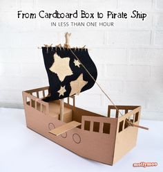 DIY Cardboard Pirate Ship - no painting, no papier mache, easy to make in less than 1hour | MollyMooCrafts.com