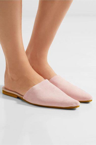 Slight heel Pastel-pink suede Slip on Designer color: Dusty Rose Large to size. See Size & Fit notes.