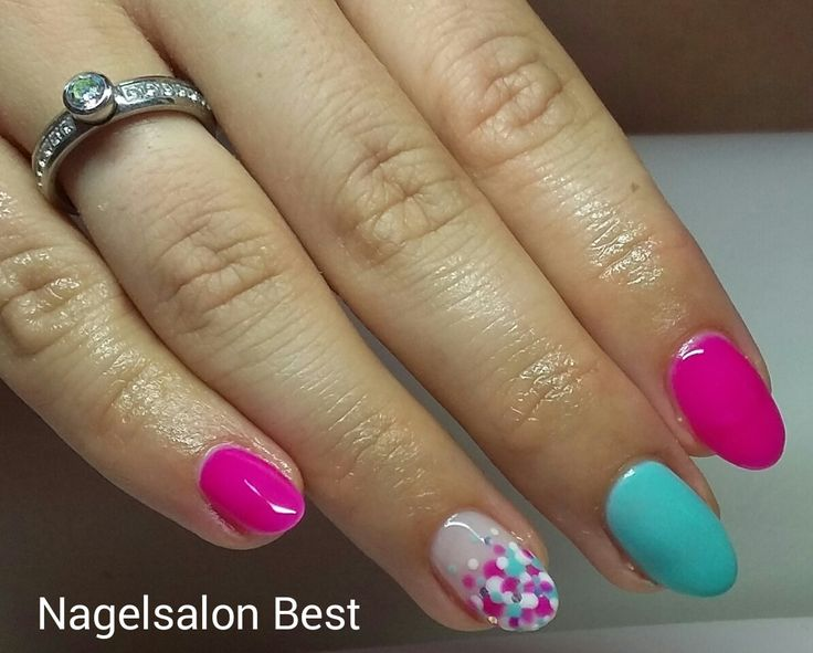 Gellak eigen nagels roze zomer nailart nail art blauw