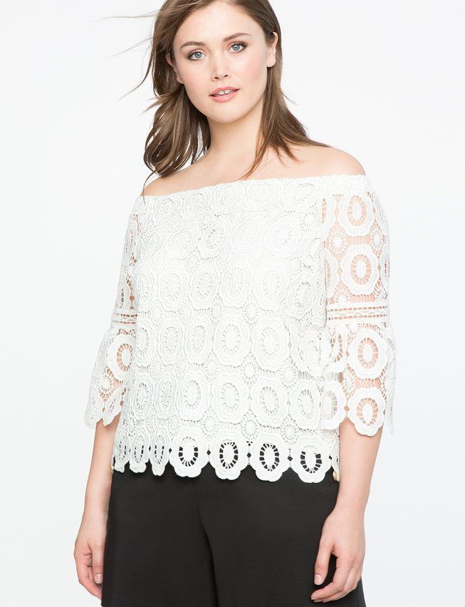 Off the Shoulder Crochet Lace Top from eloquii.com