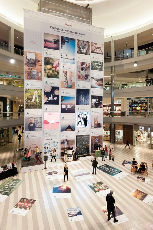 Caribou Coffee built an interactive, 64 foot-tall Pinterest board in the Mall of America's rotunda to promote a new coffee blend.