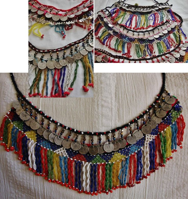 Several traditional 'gerdanlık' (chooker/tight-fitting necklaces). From the Pomak villages near Biga (Çanakkale province), ca. 1925-1950. Part of women's festive costumes. Bead-work made of small coloured glass beads; with late-Ottoman & early-Republican coins. (Source: Tekin Uludoğan, Balıkesir).