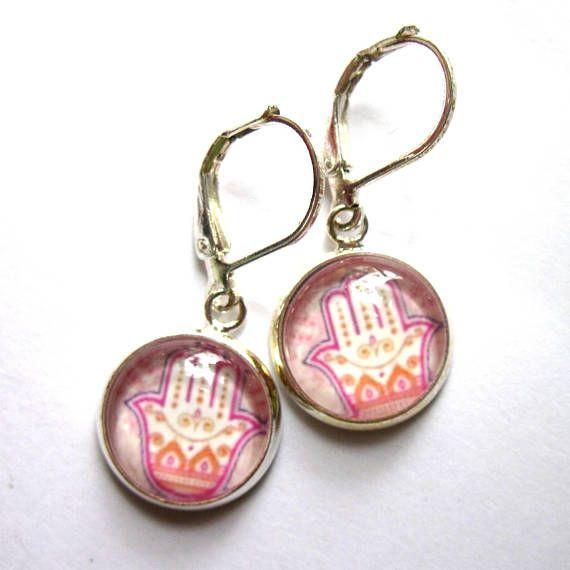 Pink Hamsa Hand Earrings Yoga Fashion Jewelry