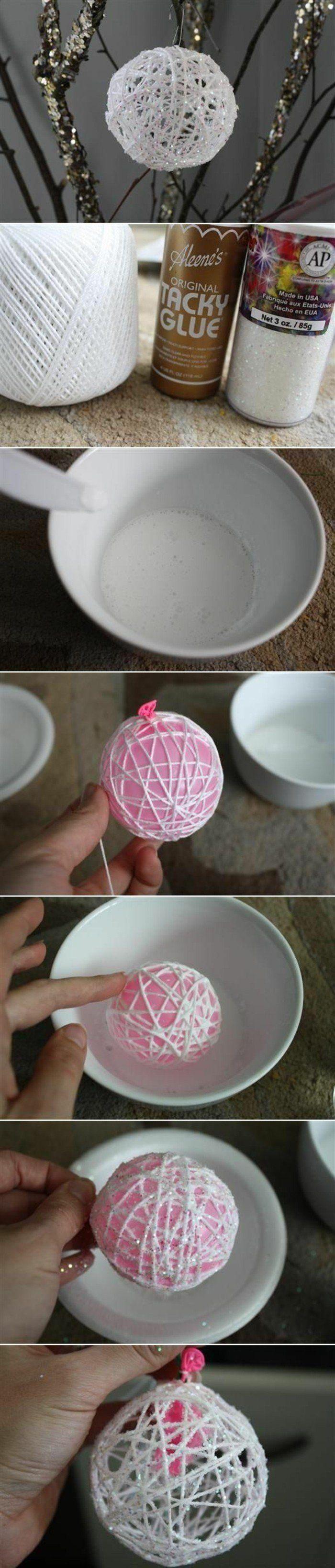 bricolage de noel, boule de Noël en fil en lin