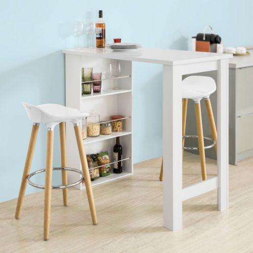 Details about SoBuy® Table Haute de Bar Mange-debout Cuisine avec rangements- Blanc,FWT17-W FR ...