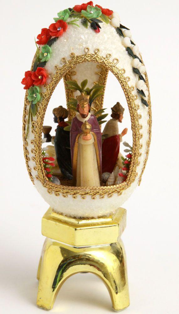 Vtg 3 Kings Large Egg Xmas Diorama Pedestal Stand Seashell Rhinestone Nativity  | eBay