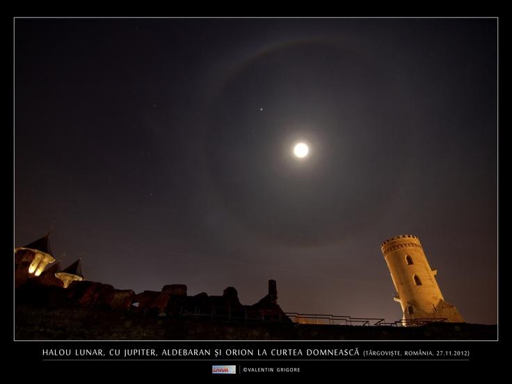 Halo lunar, Aldebarán, Orión y Júpiter desde Targoviste, Rumanía.-