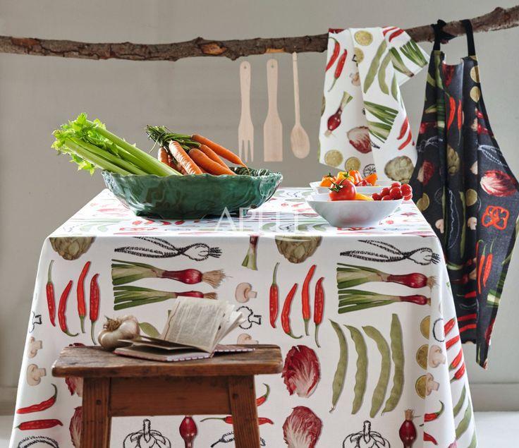 Gemüse für die Küche, Tischdecke, Geschirrtücher, Tischläufer und Schürze von Apelt, Artikel 6109