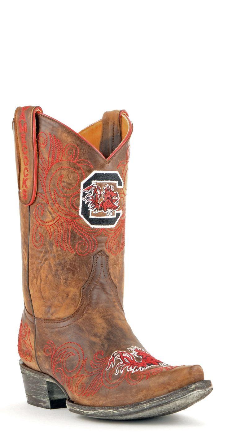 Gameday U Of S Carolina Ladies Leather Boots - Brass