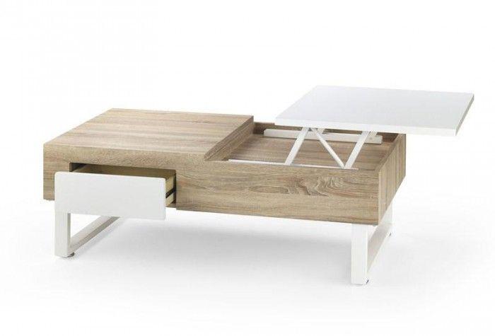 Moderne design salontafel vervaardigd uit hoogwaardig MDF plaatmateriaal in de kleurencombinatie Sonoma eiken gecombineerd met Hoogglans wit. Deze salontafel is voorzien van een uitklapbaar bovenblad en een lade.