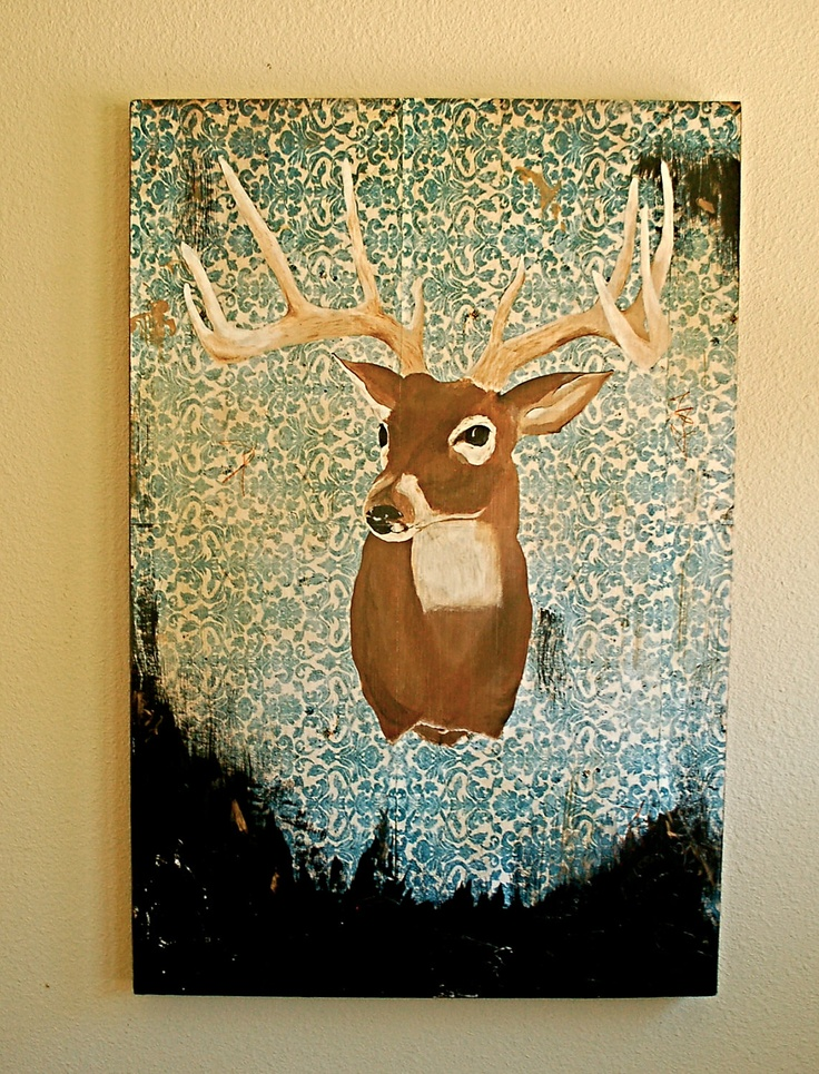 Deer painting with damask background- I LOVE this!!