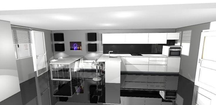 Para salvar el pequeño espacio y llenarlo de luz los colores principales de los muebles son blancos combinados con la pared pitada en gris y las traseras vestidas con #cristal templado negro.