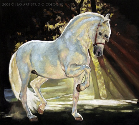 Wow, that's a really pretty Andalusian horse painting! Glowing white horse in the sunset through the trees. Please also visit www.JustForYouPropheticArt.com for more colorful art you might like to pin or purchase or for painting ideas for your own paintings. Thanks for looking!