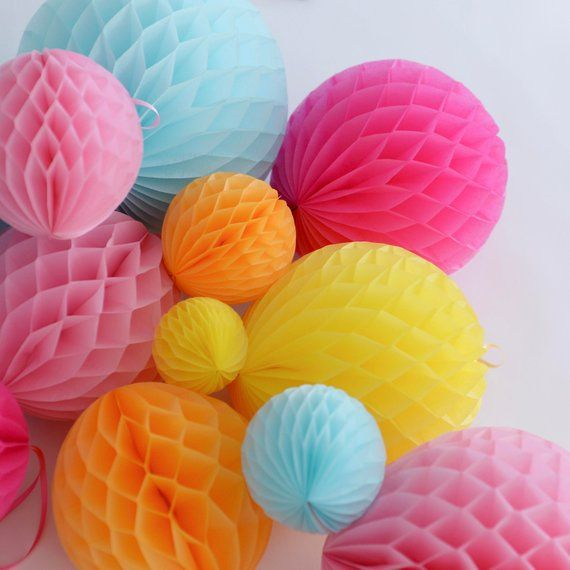8 Mixed Size Paper Honeycomb Balls Nursery Decor 1st Birthday Decor With Images Honeycomb Paper Christmas Paper Crafts Paper Pom Poms
