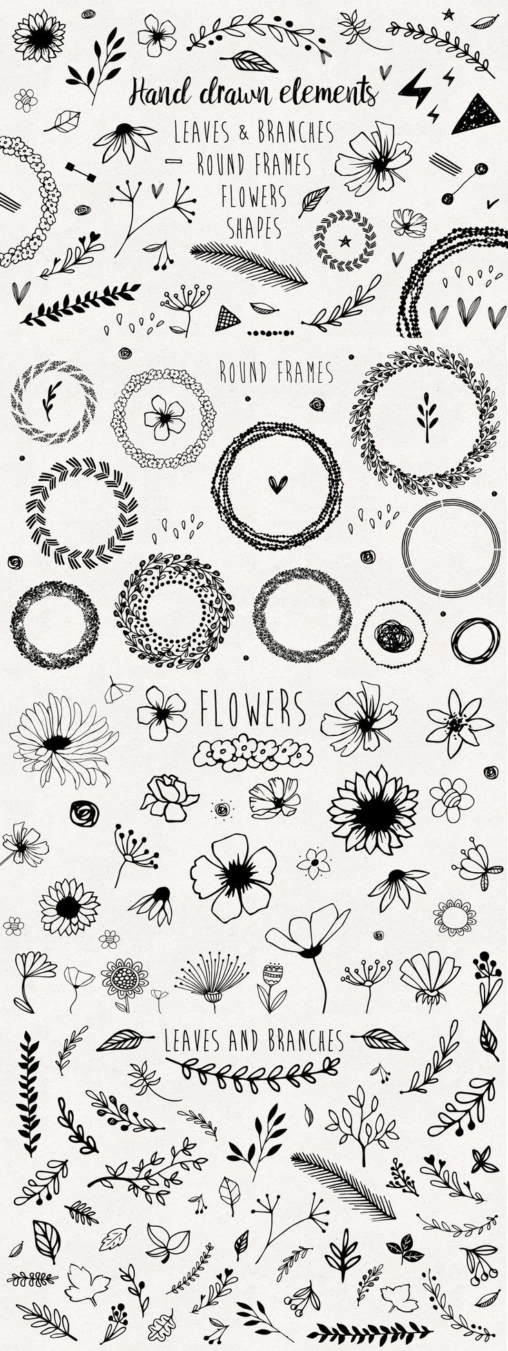 Hand drawn elements collection by mirabella.taide on @Creative Market