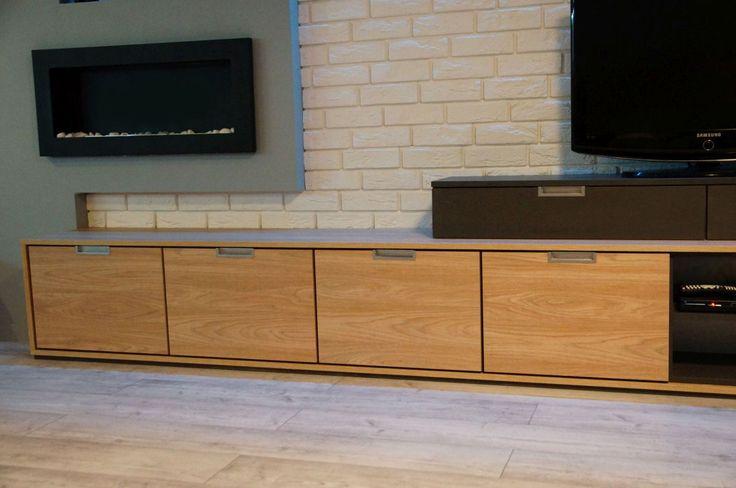 Komoda wykonana na wymiar #komoda #meblenawymiar #komodanawymiar #filmarmeble #furniture #commode #design #room #decoration #stegu #cegła #parma #magnat #jaspispicasso #oswietlenie #led #rgb #biokominek