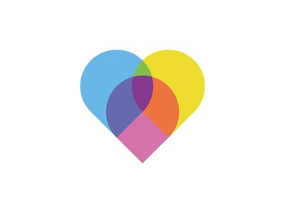 Another way to combine multiple colours in a heart shape.