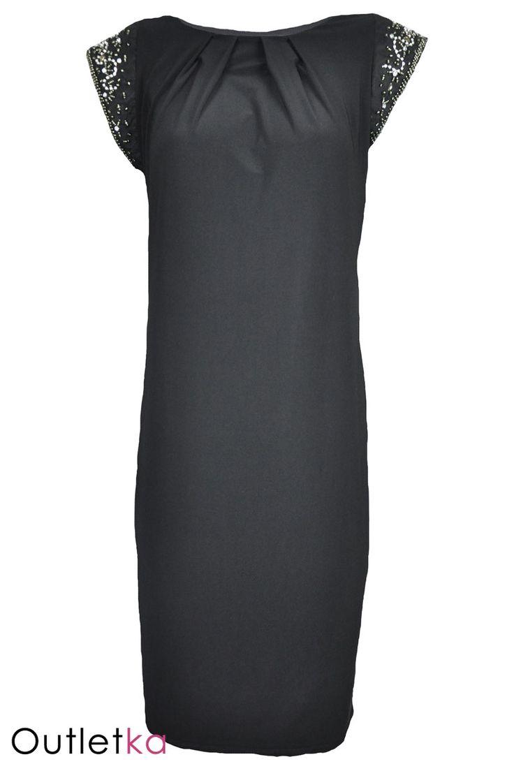 Nowa czarna sukienka/ tunika firmy Wallis. Sukienka luźna. Na krótki rękaw. Rękawy sukienki zdobione koralikami i cyrkoniami. W ramionach wszyta gąbka, dzięki, której sukienka dobrze układa się