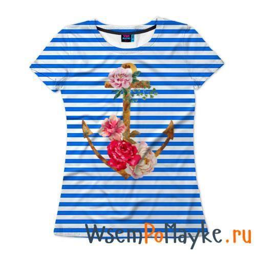 Женская футболка 3D с полной запечаткой Якорь с цветами купить в интернет магазине WsemPoMayke.Ru http://wsempomayke.ru/product/womanshortfull/1042951  Доставка по России курьером или почтой, оплата при получении. Посмотреть размеры и цену > http://wsempomayke.ru/product/womanshortfull/1042951