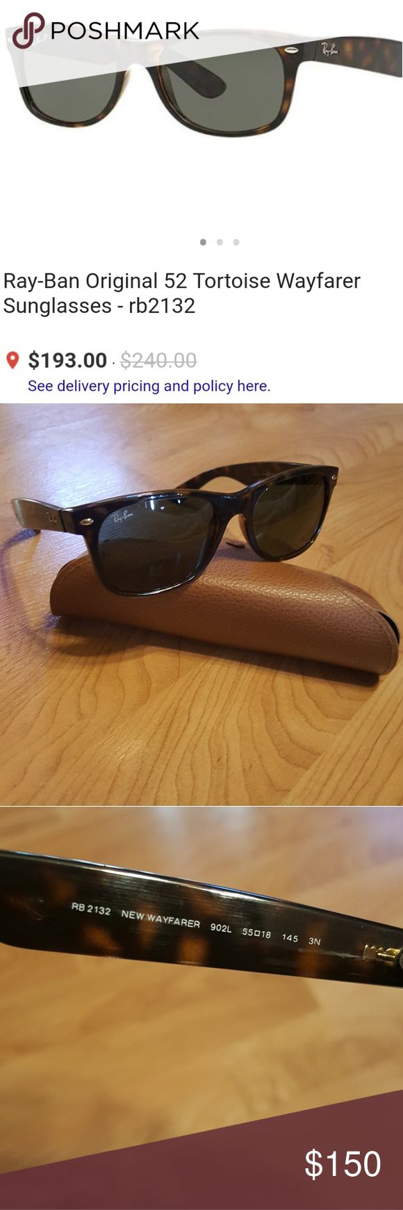 Ray-ban classic wayfarer sunglasses 8411 Excellent condition. Style 2132. Tortoise shell. I wore these for maybe 2 weeks before I ended up buying a different style so they are in very good condition. Comes with case in photo. Ray-Ban Accessories Sunglasses
