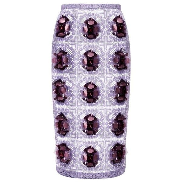 Burberry English Posie Lace Pencil Skirt ❤ liked on Polyvore featuring skirts, burberry, purple skirt, lacy skirt, lace pencil skirt and pencil skirt