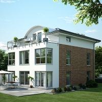 Moderne Stadtvilla von OKAL Haus mit Tonnendachgiebel und vielfältigen Nutzungsmöglichkeiten