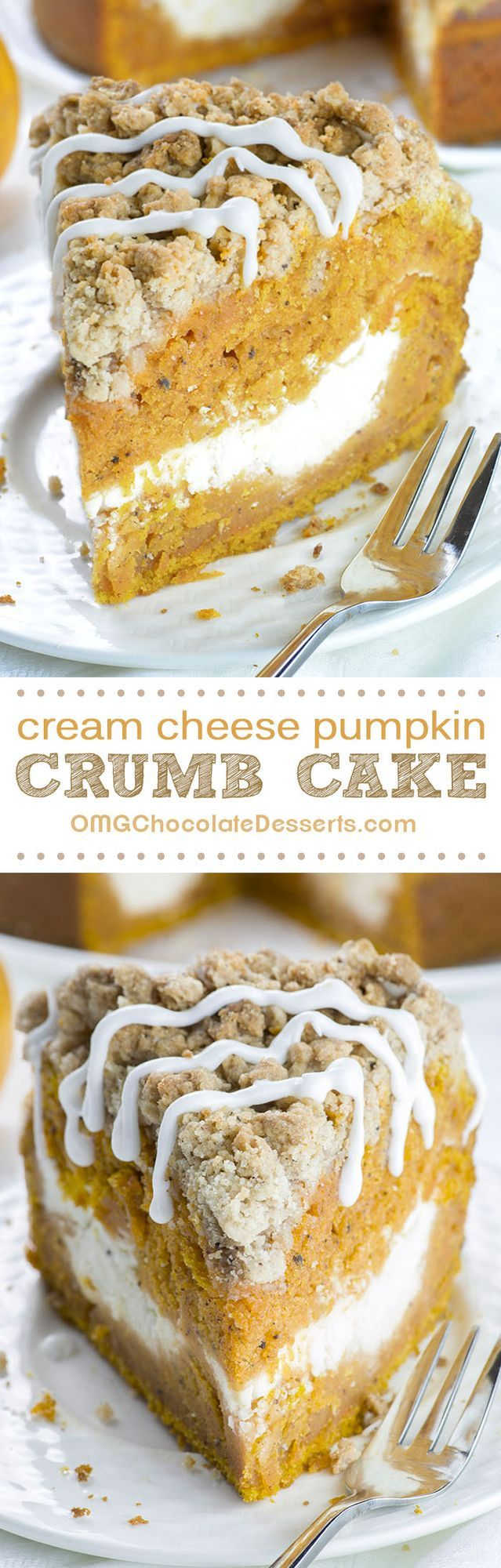 This is the fall recipe you've all been waiting for- Pumpkin Coffee Cake! A big slice of spiced pumpkin cake with cream cheese filling in the center and crunchy brown sugar-cinnamon crumbs on top driz