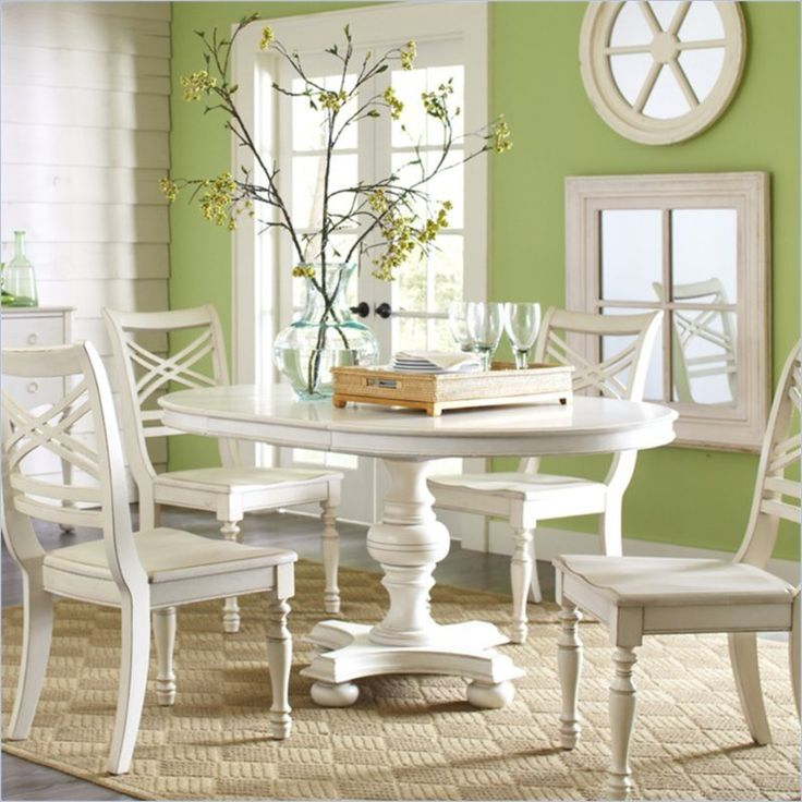 Riverside Furniture Placid Cove 42 Inch Round Oval Dining Table In Honeysuckle White