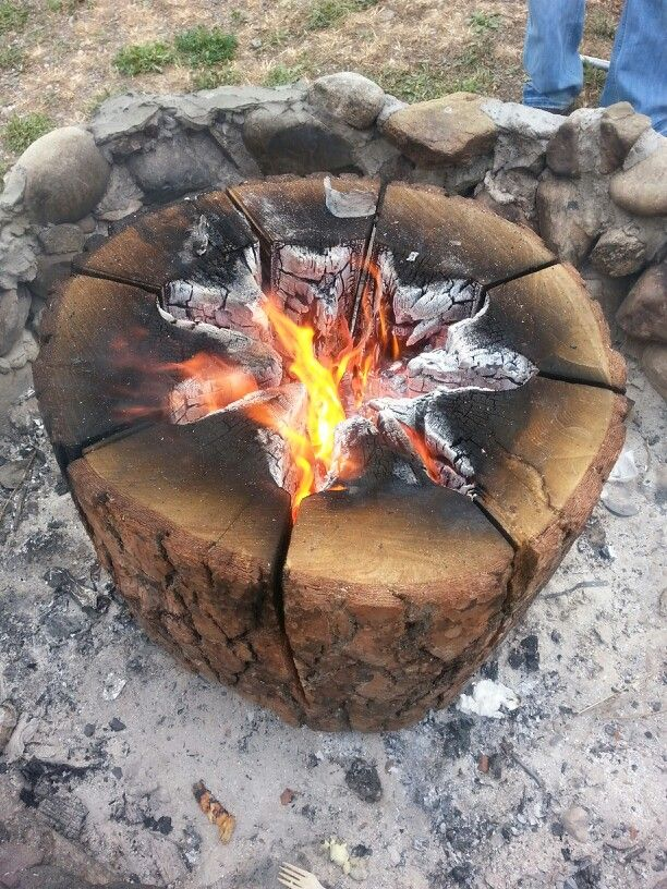 This is a Swedish fire log. My husband cut a 30 inch round log, then using a chainsaw made pie slices down to within 3 to 4 inches from bottom. Take lighter fluid and pour in center and down the slices. Ignite and enjoy. Very warm fire burned about 20 hours and we just kept adding wood to center as it burned out. We used a pine log but any would do