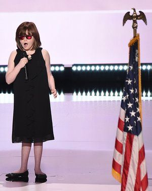 Marlana VanHoose performs the National Anthem at the Quicken Loans Arena