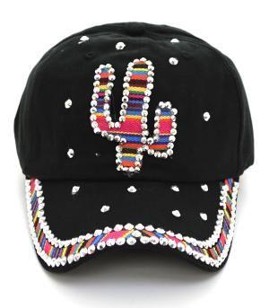 Wholesale Handbag Fashion Jewelry WHATS NEW HAT8302BK Denim Serape Cactus Bling Hat at YKTrading.com